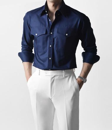 테시 웨스턴 포켓 셔츠 (Navy)
